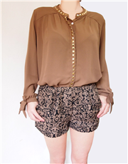 Studded Collar and Placket Blouse