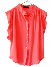Fluted Cap Sleeve Blouse (Luminous Pink)