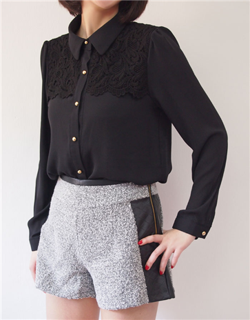 Chiffon Shirt With Embroidered Lace