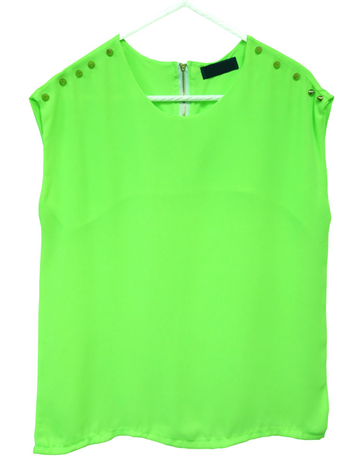 Studded Sleeveless Blouse (Luminous Green)